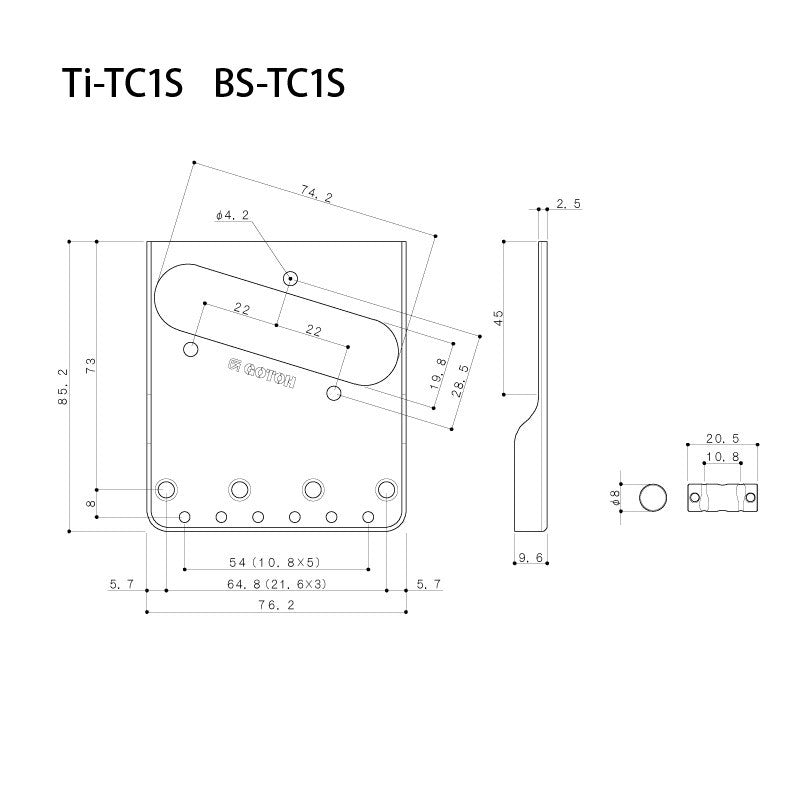 "Guitar Bridge - Gotoh  BS-TC1S In-Tune 3-saddle, brass compensated, steel bridge for Tele®, cut down sides, 2-1/8"" (54mm) spacing"