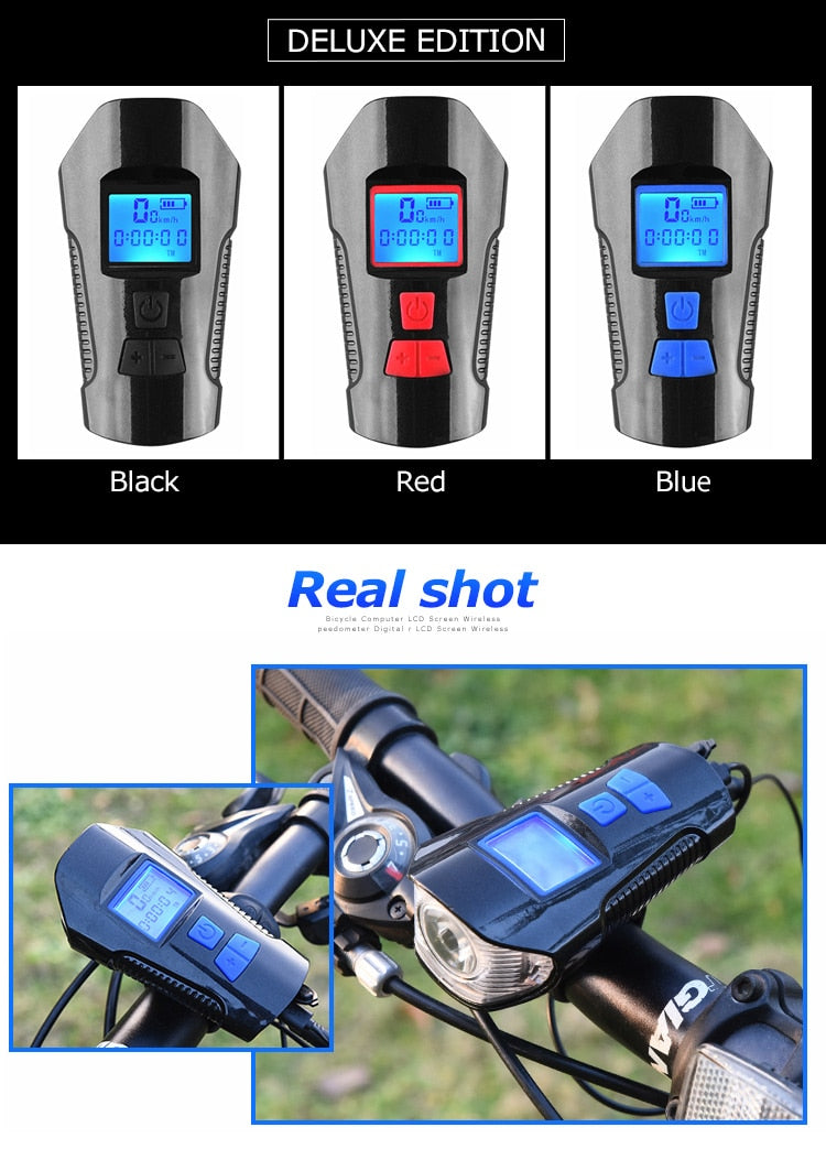 Best Waterproof Bicycle Head Light w/ Horn and Speed Meter LCD Screen - Shoppers Gateway