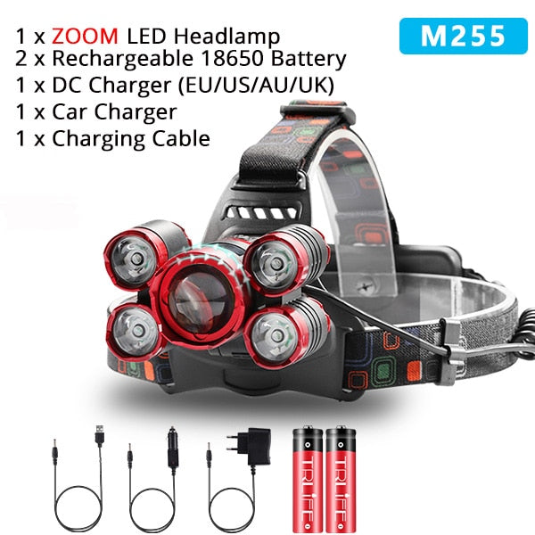 Fishing Lantern LED Headlamp Ultra Bright Zoom 18650 Head Lamp. - Shoppers Gateway