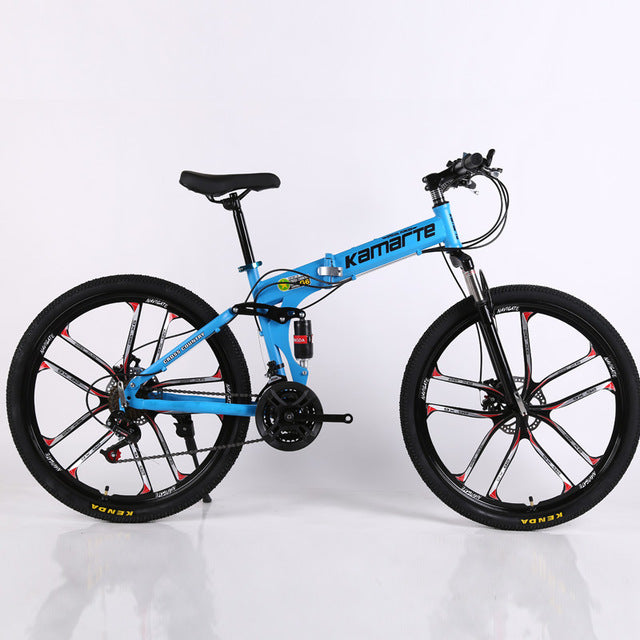 24 and 26inch folding mountain bike 10 knife wheel folding mountain bicycle 21 speed Two-disc brake bicycle - Shoppers Gateway