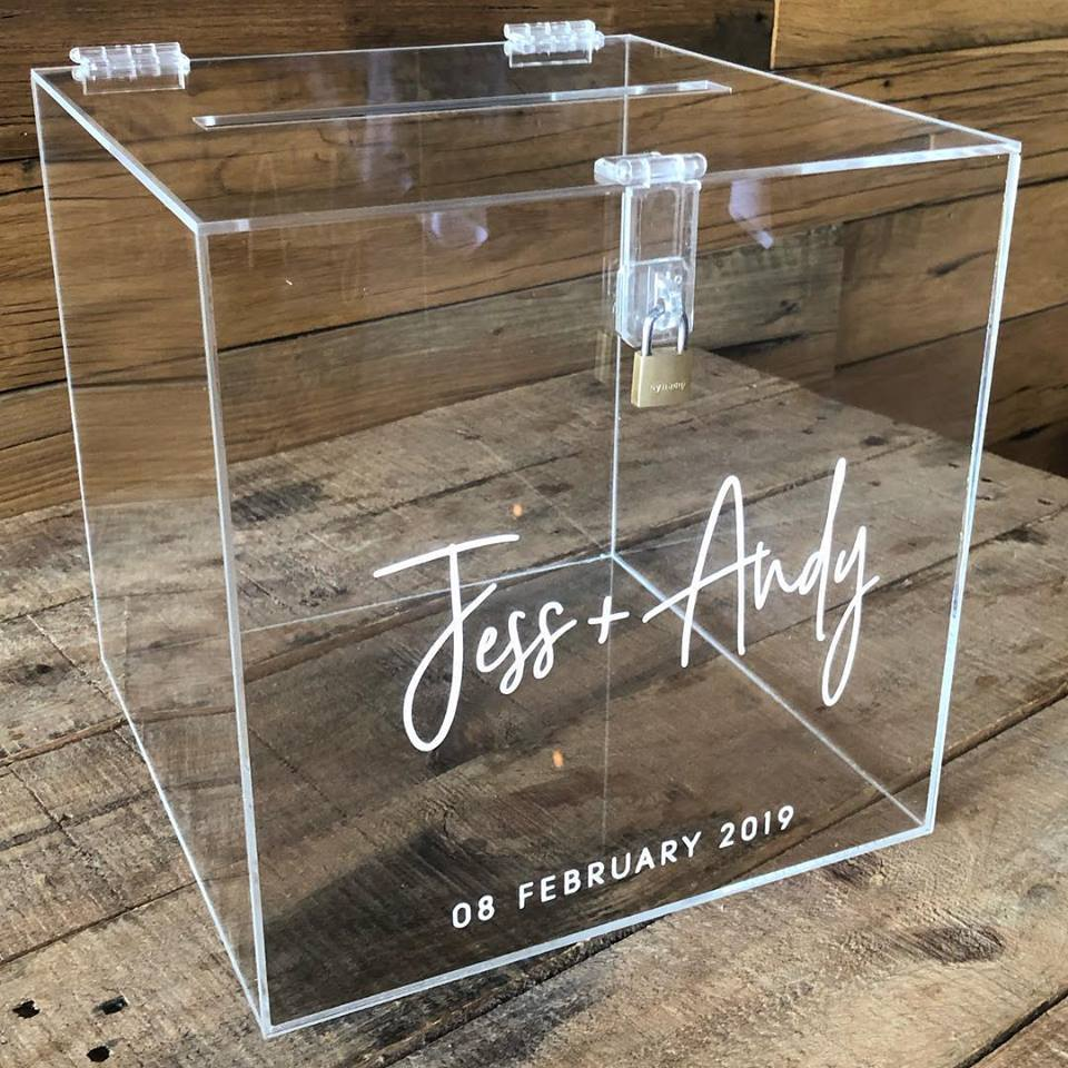 Perspex Wishing Well Cube - Wellington Wedding Hire