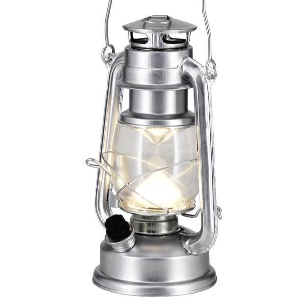 Silver battery operated lantern - Wellington Wedding Hire