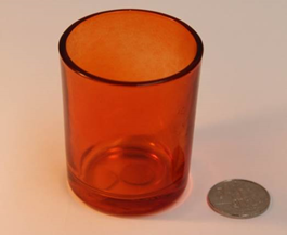 Orange clear glass votive - Wellington Wedding Hire