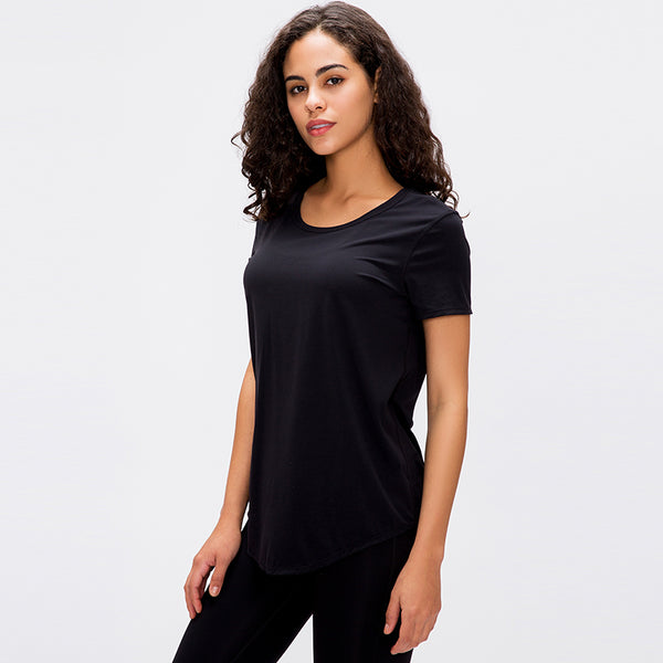 Burymento Women's Relaxed-Fit Short-Sleeve Scoopneck Swing Tee