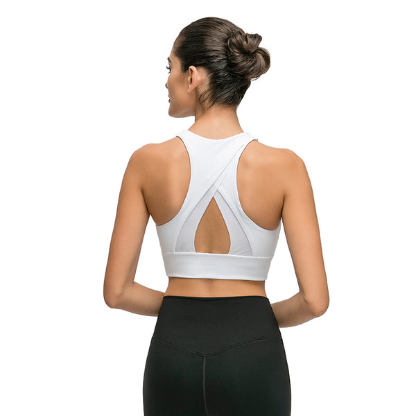 Retrify Women's Workout Padded Mesh Strappy Running Yoga Bra