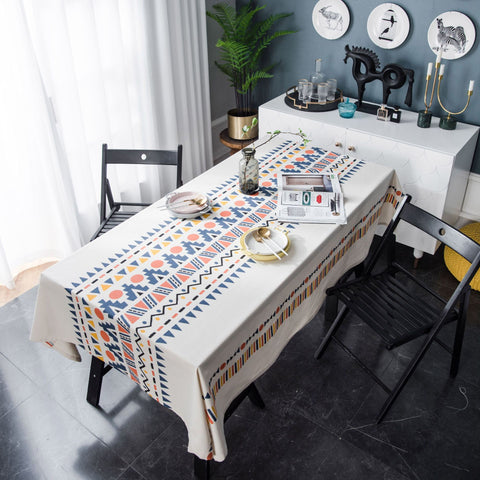 Homeral Boho Style Printed Cotton Linen Tablecloth-140*180cm