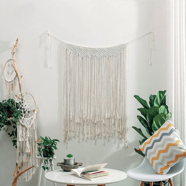 SAMTOU Wall Hanging Macrame Curtain Fringe Banner Bohemian Wall Decor