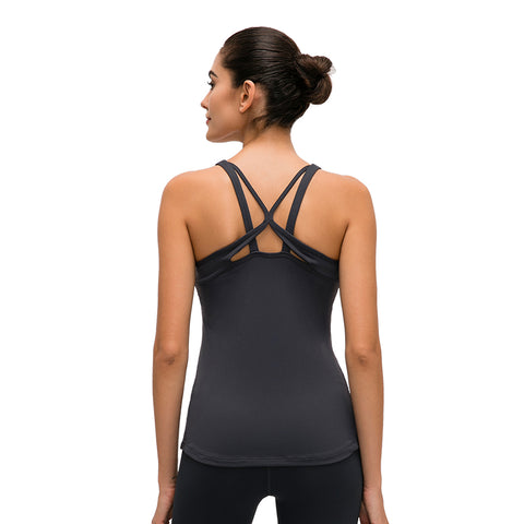 Flyhill Sports Tank Tops for Women Workout Yoga Shirt with Removed Pads Strappy Back