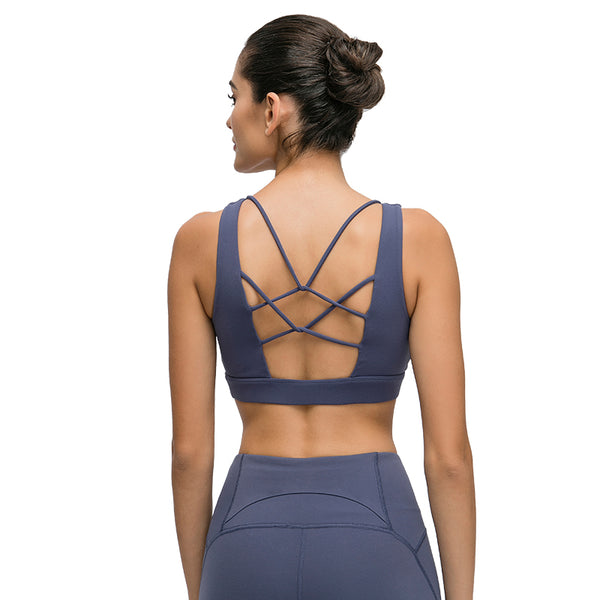 Retrify Women's Padded Sports Bra Cross Back  Workout Running Yoga Bra