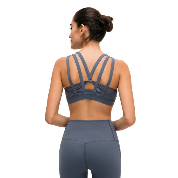 Golden Cereal Women's Strappy Sports Bra - Longline Crossback Padded Yoga Bra