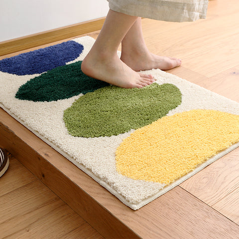 Togohome Anti-Slip Bath Mat Cartoon Lemon Strong Water Absorbing Bathroom Rug