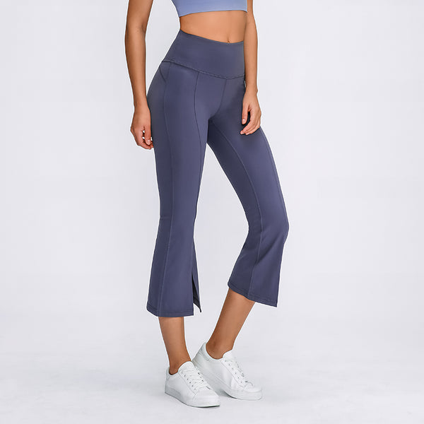 Varsoul Women's Bell Bottoms Flared Capri Yoga Workout Stretch Pants