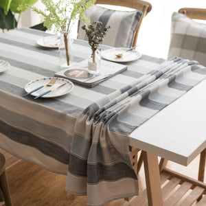 Togohome Embroidered Checkered Table Cloth Cotton Linen Wrinkle Free Anti-Fading Table Cover Decoration for Kitchen Dinning Party