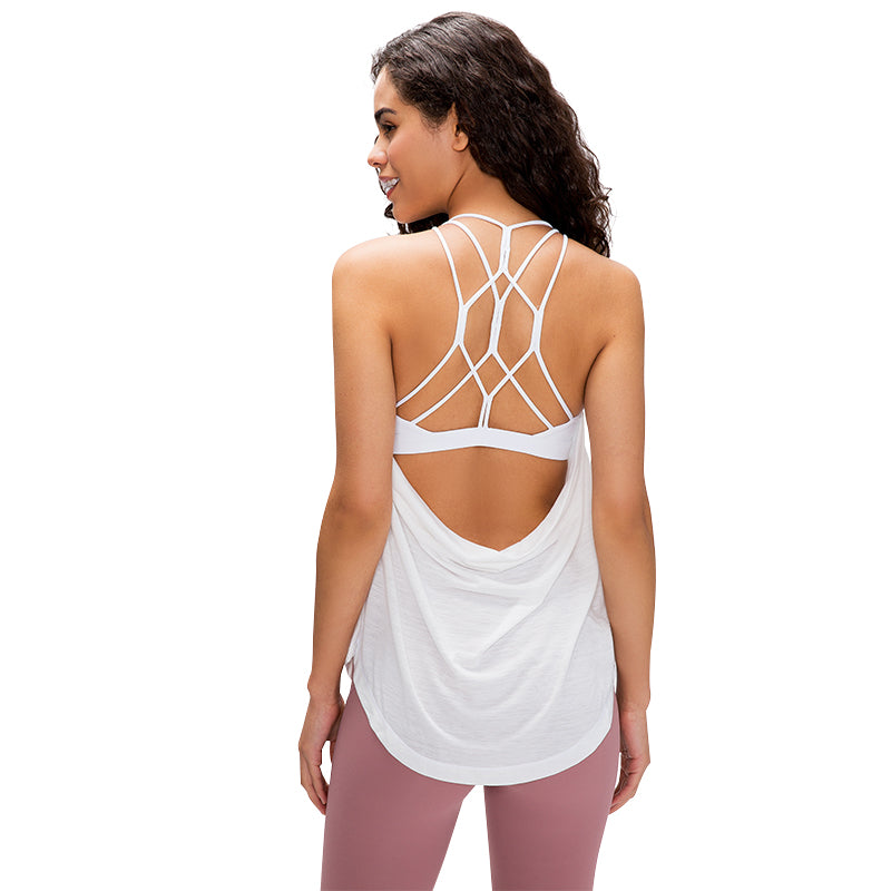 Varsoul Women's Summer Workout Open Back Tops Sexy  Backless Yoga Shirts