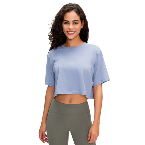Colikdin Women's Summer Short Sleeve Tee Yoga Crop Tops