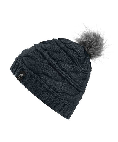 The North Face Triple Cable Fur Pom Beanie