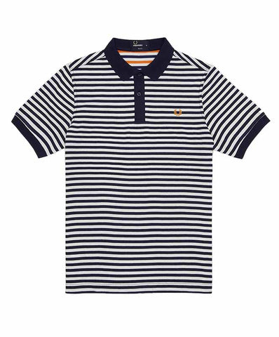 Fred Perry Men's Fine Striped Pique Jersey Shirt