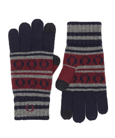 Fred Perry Fairisle Touchscreen Knit Gloves