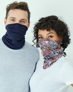 Safe snood - Peach & Navy (2 in a pack)