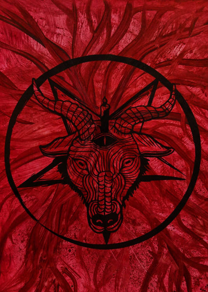 Hand-painted Baphomet on Red Paper veins