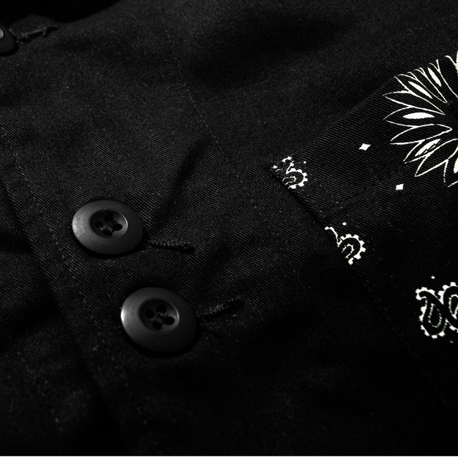 ASYMETRICAL CHORE JACKET BLACK
