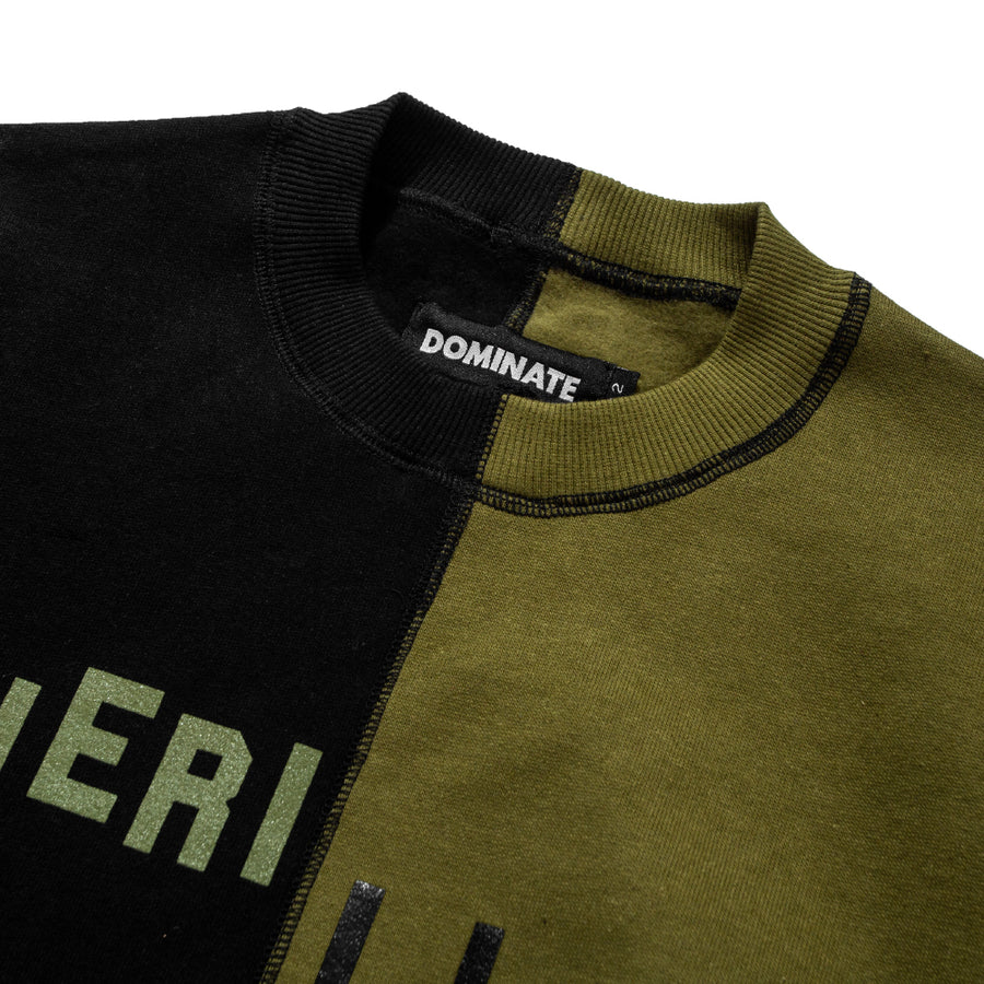 MISMATCH CREWNECK BLACK / OLIVE