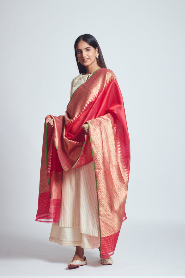 Crimson Red Silk Banarsi Dupatta
