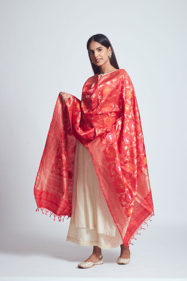 Persian Red Silk Banarsi Dupatta