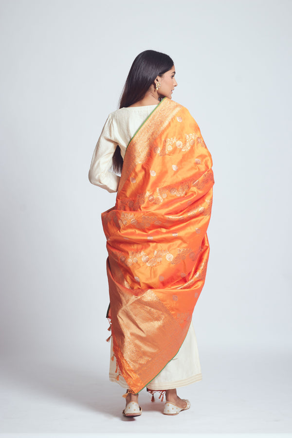 Royal Orange Silk Banarsi Dupatta