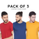 COMBO PACK OF 3 -  HALF SLEEVE (Choose Colors)