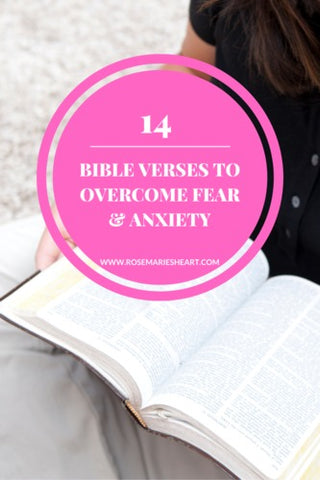 woman reading the bible 14 bible verses to overcome fear and anxiety by rosemarie's heart