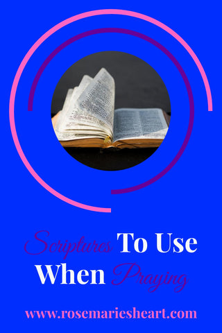 bible with pages turning scriptures to use when praying by rosemarie's heart