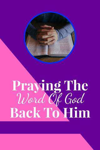 person praying with pink and purple background praying the word of god back to him by rosemarie's heart
