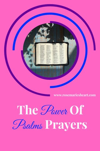 pink background with bible with the power of psalms prayers by rosemaries heart