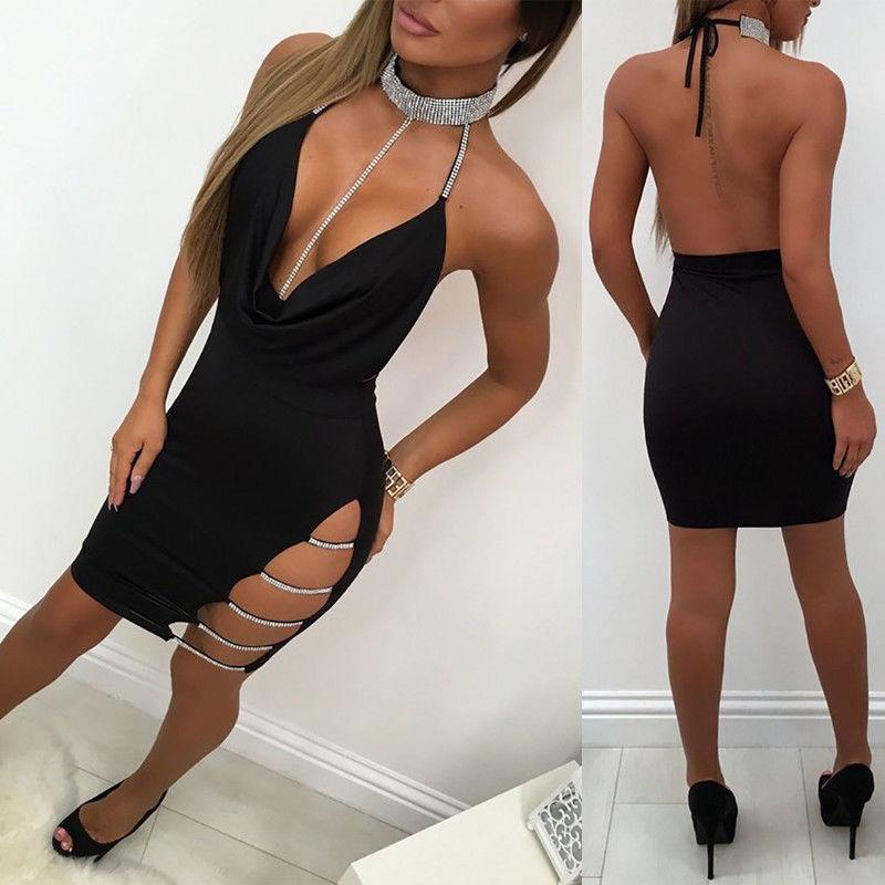 Sexy sling bag hip dress low cut openwork dress