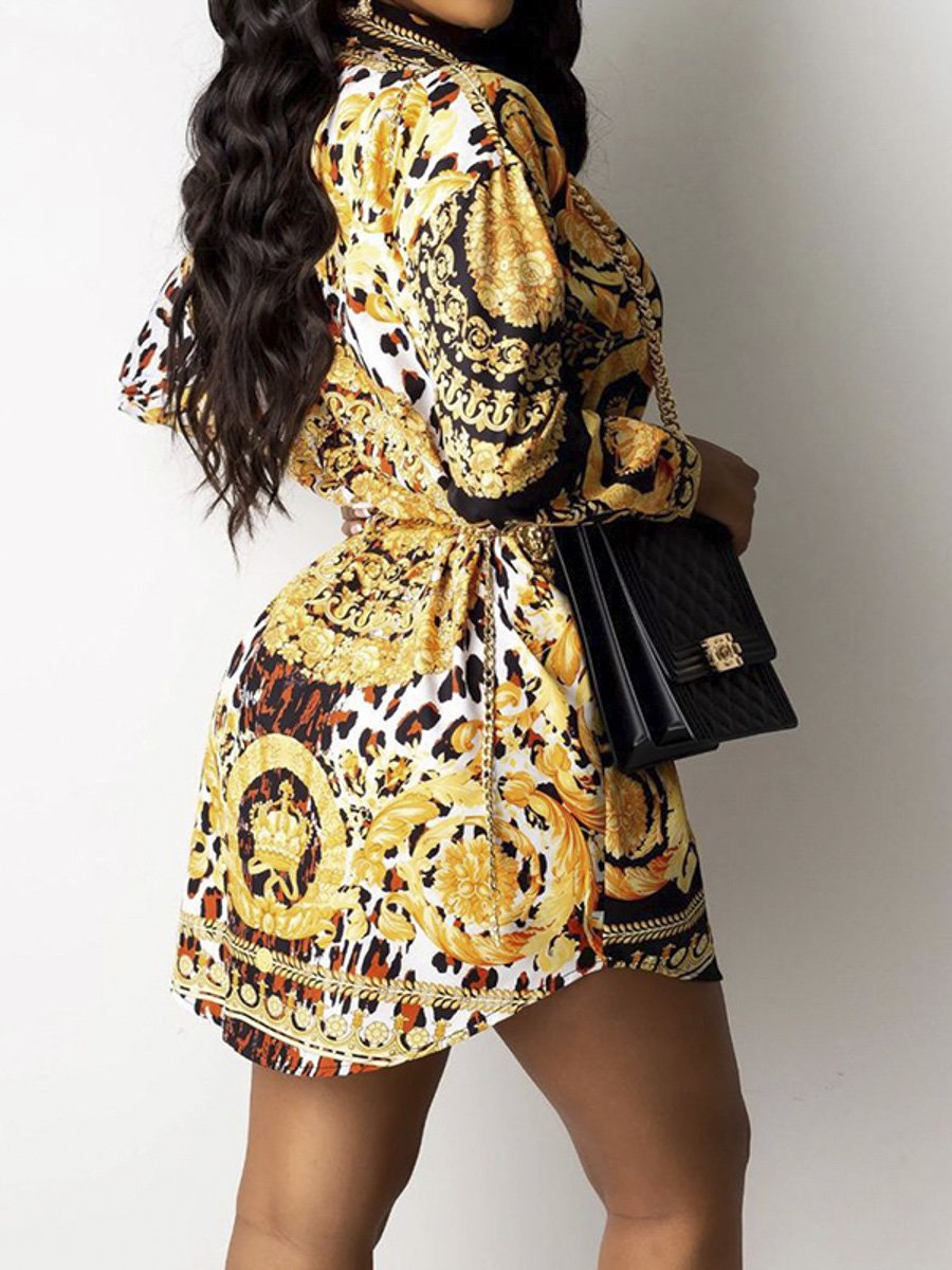 Glod leopard paisley patchwork shirt dress Women