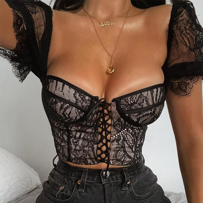 Stretch Lace Corset Top Embroidered Sexy Blouse