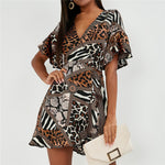 Dress Women Sexy Leopard Dress Vintage
