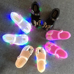 New fashion magic color LED flashing lights girls shoes bow princess shoes fish mouth baby sandals and slippers jelly shoes