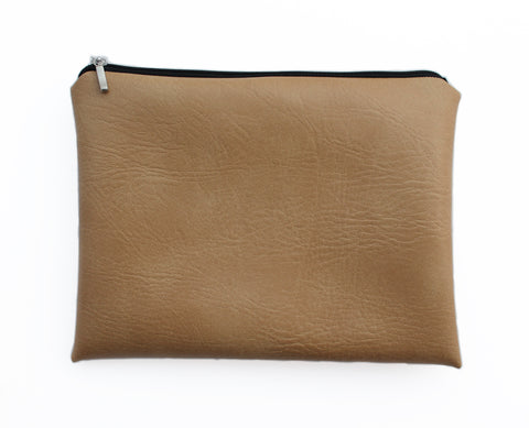 Tan vegan leather clutch