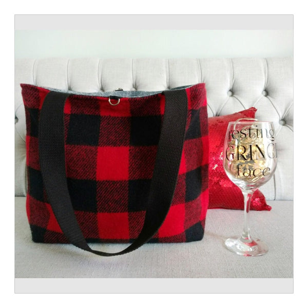 Red wool buffalo plaid tote