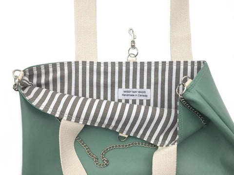 Mint striped vegan tote