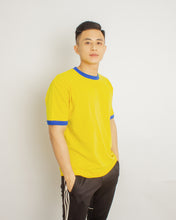Load image into Gallery viewer, Japanese Heavyweight 230gsm Ringer Tee Unisex (Bright yellow + Royal blue)
