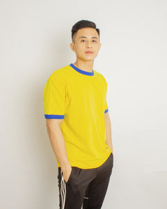 Japanese Heavyweight 230gsm Ringer Tee Unisex (Bright yellow + Royal blue)