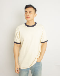 Japanese Heavyweight 230gsm Ringer Tee Unisex (Apricot + Black)