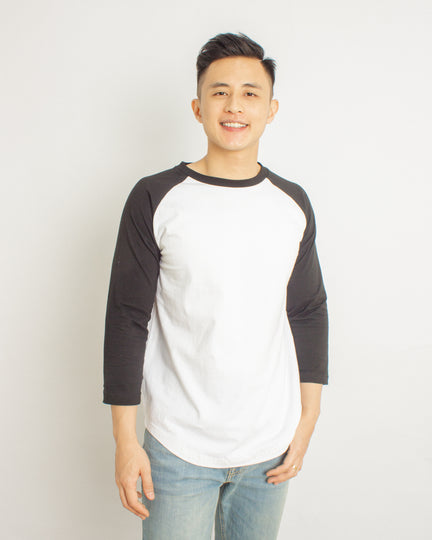 Japanese Heavyweight 230gsm Raglan 3/4 Sleeve Tee Unisex (White+ Black Sleeve)
