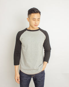 Japanese Heavyweight 230gsm Raglan 3/4 Sleeve Tee Unisex (Grey+ Black Sleeve)