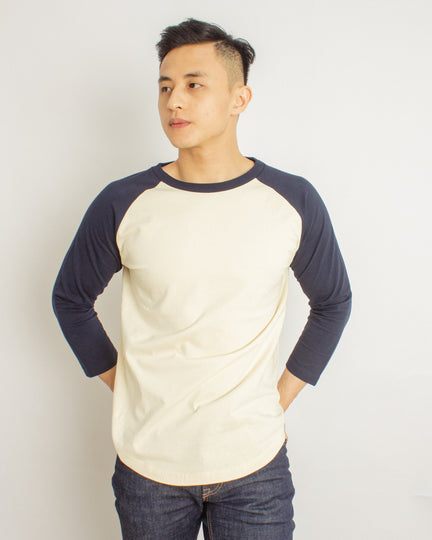 Japanese Heavyweight 230gsm Raglan 3/4 Sleeve Tee Unisex (Almond + Blue Sleeve)