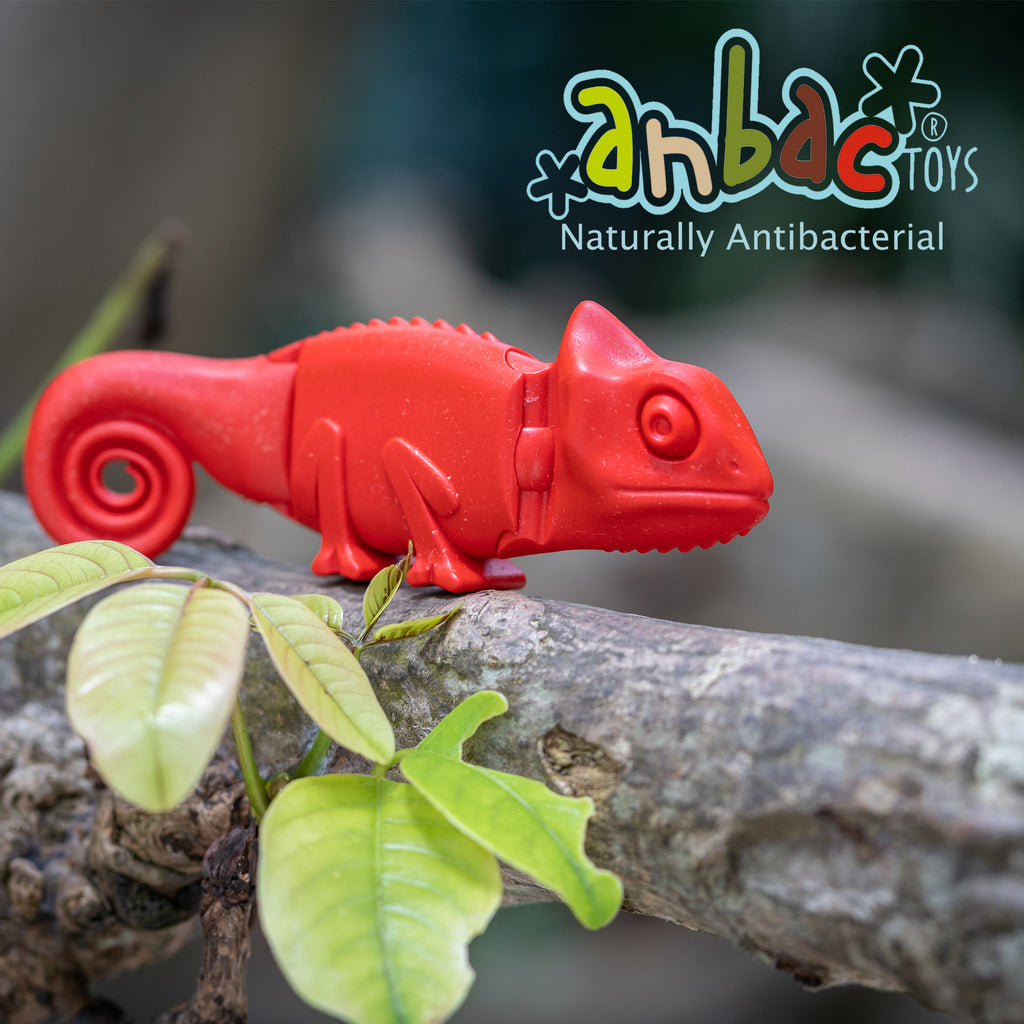 red chamaeleon toddler toy animal toy chamaeleon toy