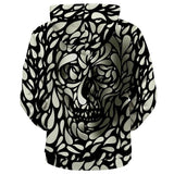 Skull Hoodie Black and White 3D